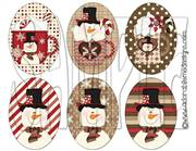 Hot Cocoa Snowman Oval Shrinky Dink Image