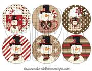 Hot Cocoa Snowman Round Shrinky Dink Image