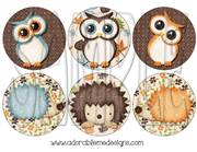 Fall Critters Round Shrinky Dink Image