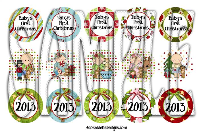Previous Page > Baby's First Christmas Bottle Cap Ornaments