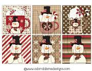 Hot Cocoa Snowman Square Shrinky Dink Image